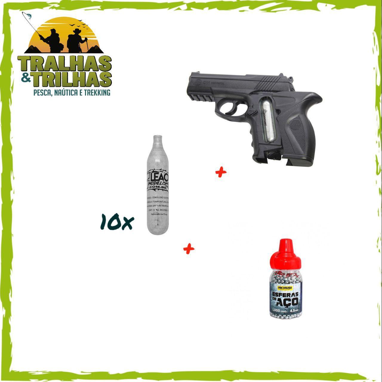 Pistola de Pressão Co2 WG Rossi C11 4,5mm - 17 Tiros  + 10 Capsulas de Co2 + 1.000 Esferas de Aço 4.5 MM