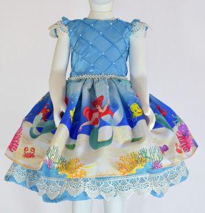 Vestido Temático Ariel Pequena Sereia