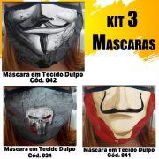 Máscara em Tecido  kit com 3 ( Cod. 034, 041, 042 )