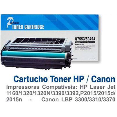 CARTUCHO HP (Q5949A/49A/Q7553A/53A) HP 1160/HP 1320/HP 3390/HP 3392/P2015/P2014/M2727/P2015N/P2014N COMPATÍVEL