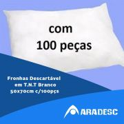 Fronha Descartável Em Tnt Branco 50x70cm - Kit c/ 100 pçs