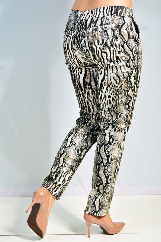 Calça Skinny  Animal Print Bolso Faca em Sarja
