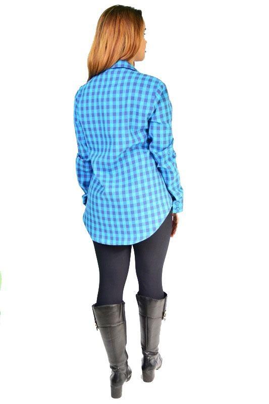 Camisa Camisão Feminino Xadrez Manga Longa Botão