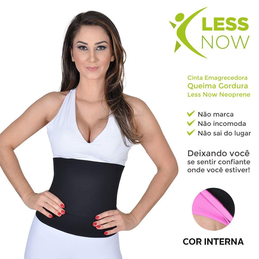 Cinta Abdominal Alta Queima Gordura Less Now Em Neoprene Rosa c/ Preto