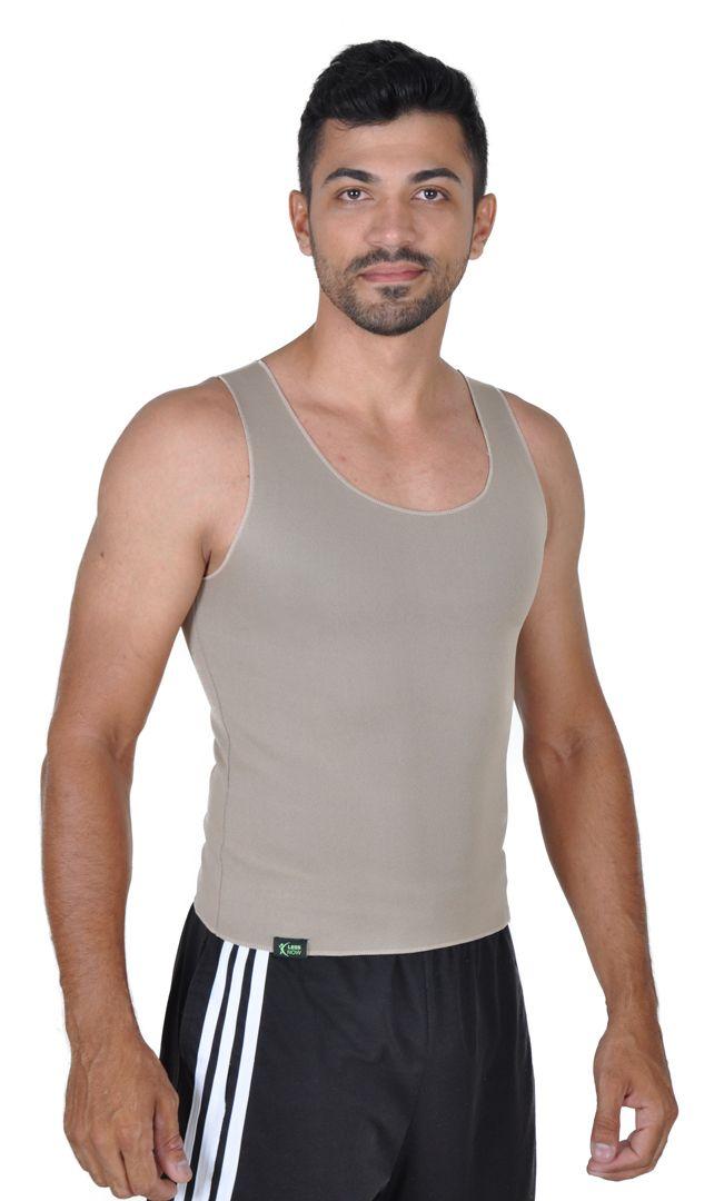 Cinta Emagrecedora MASCULINA Queima Gordura Less Now T-shirt Bege