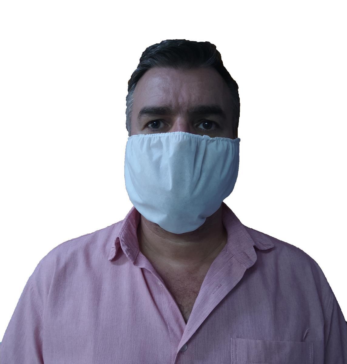 Mascara Proteção Semi-facial Dupla Camada Em Tnt Branco 50un