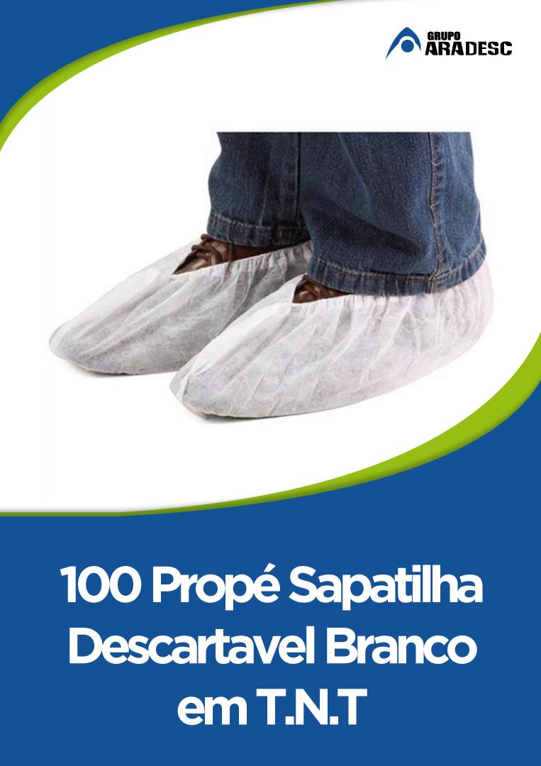 Propé Sapatilha Descartavel Branco Em T.n.t 100 Unidades