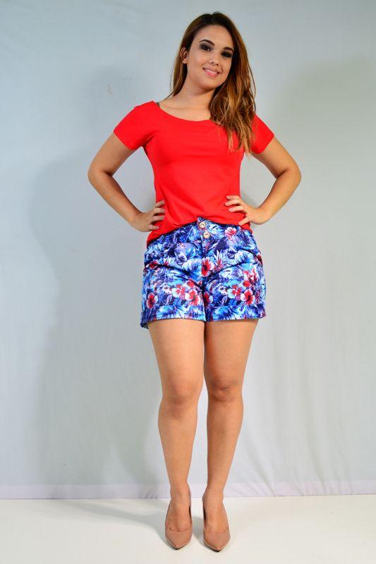 Shorts  Em Sarja Estampado  com pregas