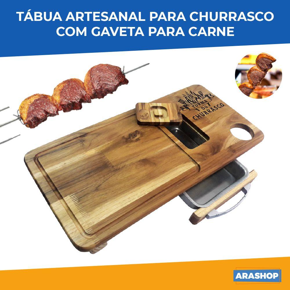 Tábua Artesanal p/ Churrasco Turma do Churrasco com Gaveta para Carne