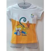 Babylook Infantil Vinicius Rio 2016 algodão amarelo