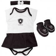 Kit 3 Peças Body Vestido Menina Botafogo 033 B