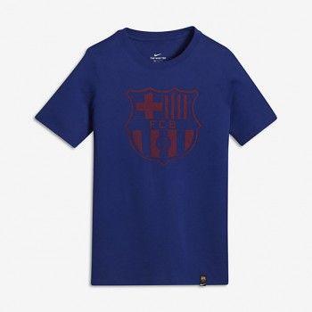 Camisa Nike Barcelona Crest Azul Algodão Infantil