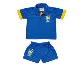 Uniforme Brasil Bebê CBF Torcida Baby Camisa Polo Amarela
