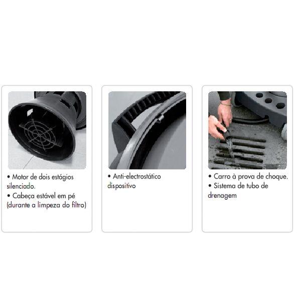 Aspirador de solidos e liquidos Domus de 2400W c/ 2 Motores - 78L em Inox - Profissional / Industrial- Lavor Wash