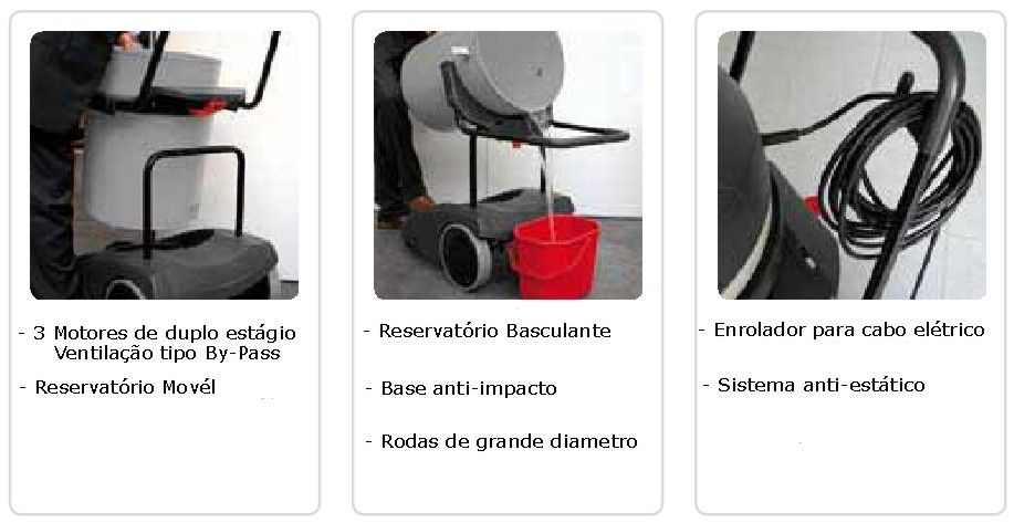 Aspirador de solidos e liquidos Taurus de 3600W c/ 3 Motores - 78L em Inox - Profissional / Industrial- Lavor Wash