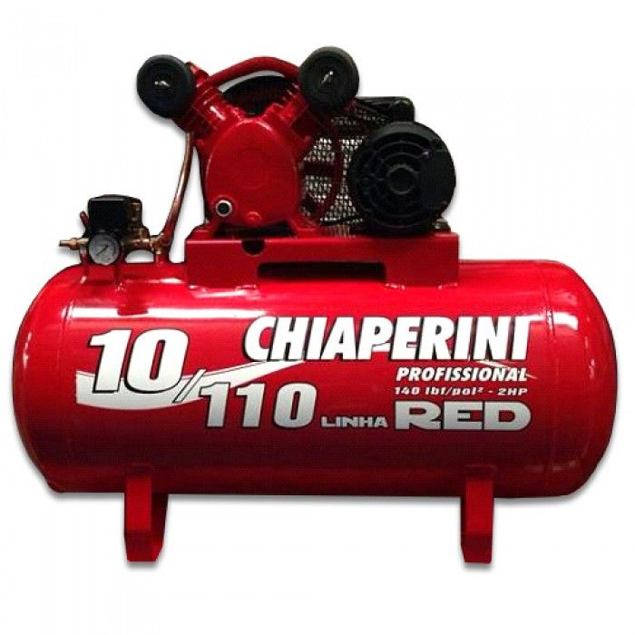 Compressor Chiaperini RED10 110Lts 140 Libras / 9.3 Bar 1580rpm 78 dba 2cv 110/220 mono