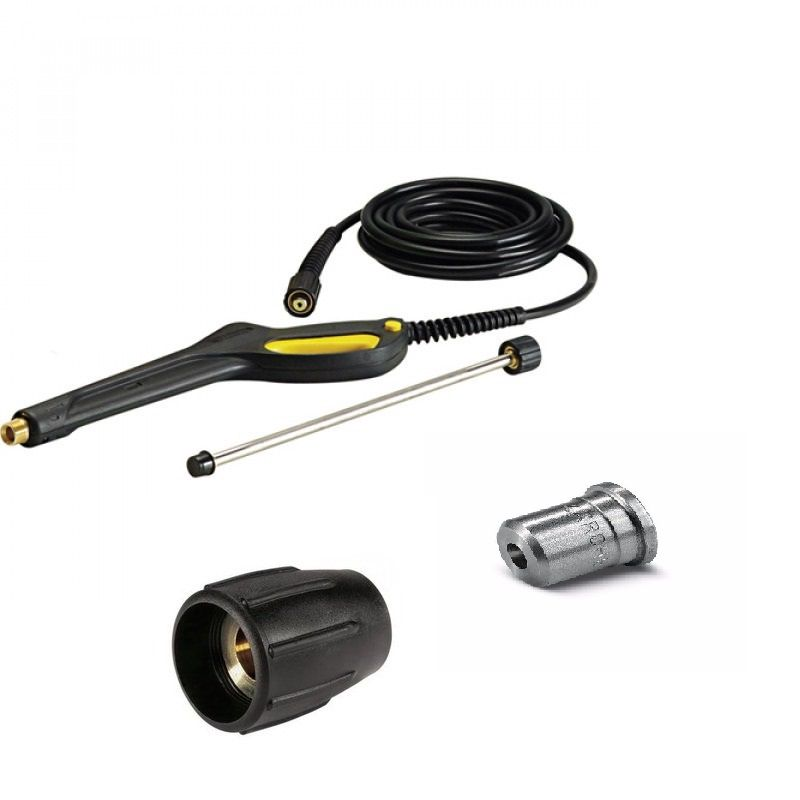 KIT PISTOLA COM MANGUEIRA LANÇA 400MM BICO 25038 E PORCA CAPA COMPATIVEL KARCHER HD585