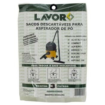 Kit saco descartavel aspirador solidos e liquidos 12 litros - Lavorwash