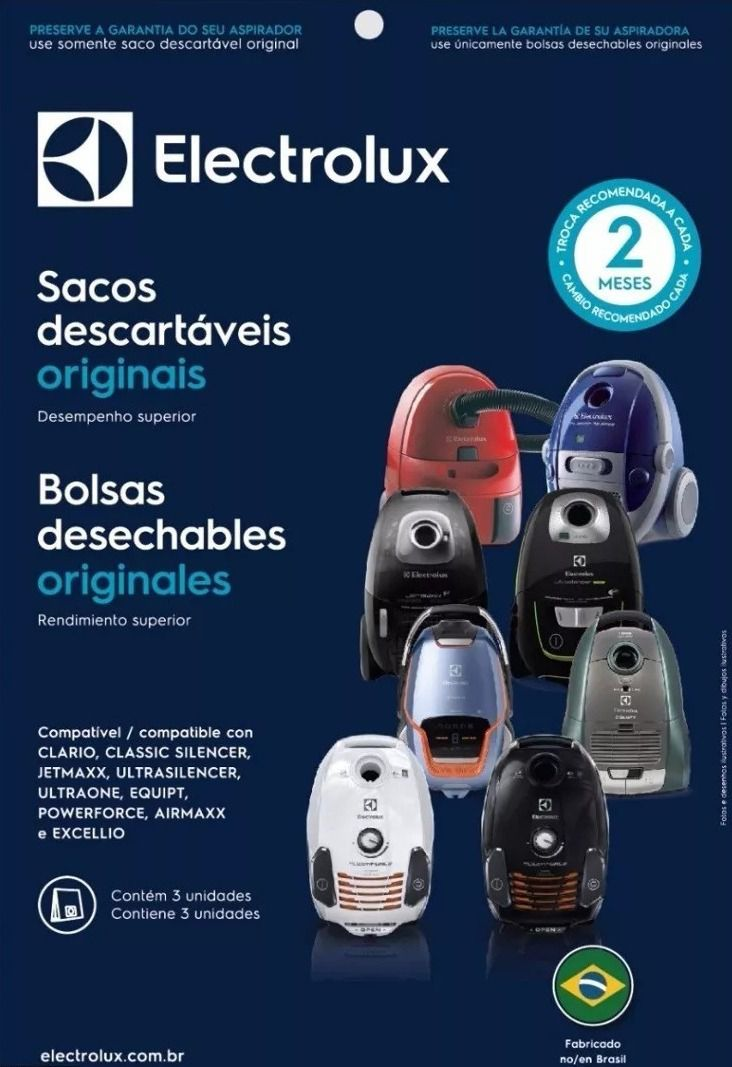 Kit saco descartável Clario 1922/1932 Excellio/Airmax/Jetmax/Silencer  - Electrolux