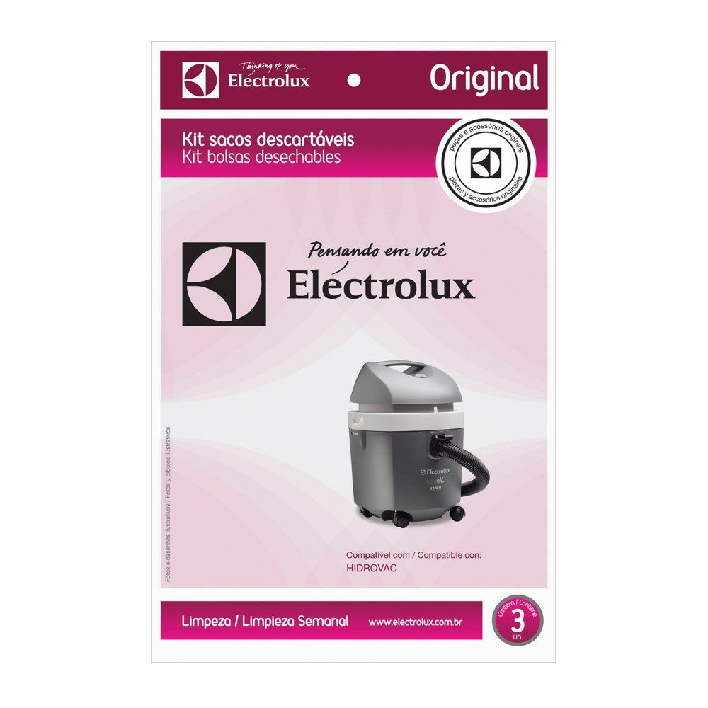 Kit saco descartavel Hidrovac WD10 Original - Electrolux