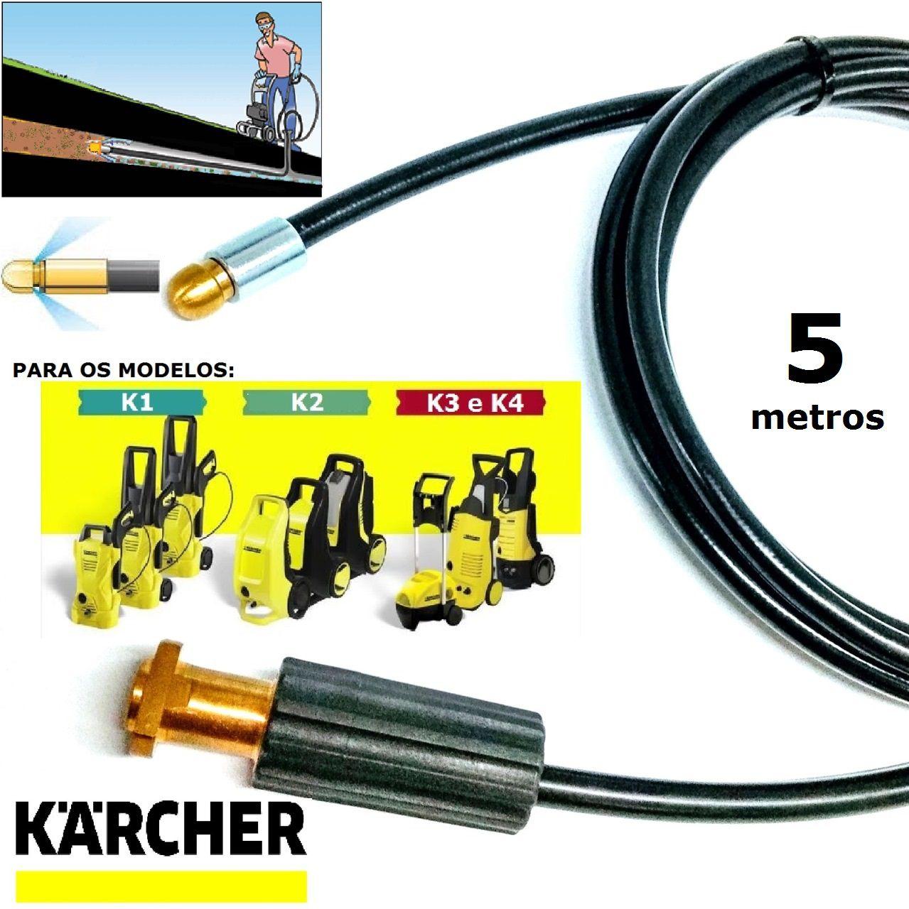 Mangueira desentupidora de tubulação para Karcher 5 Metros - k1 , k2 , k3 , k4 , k5