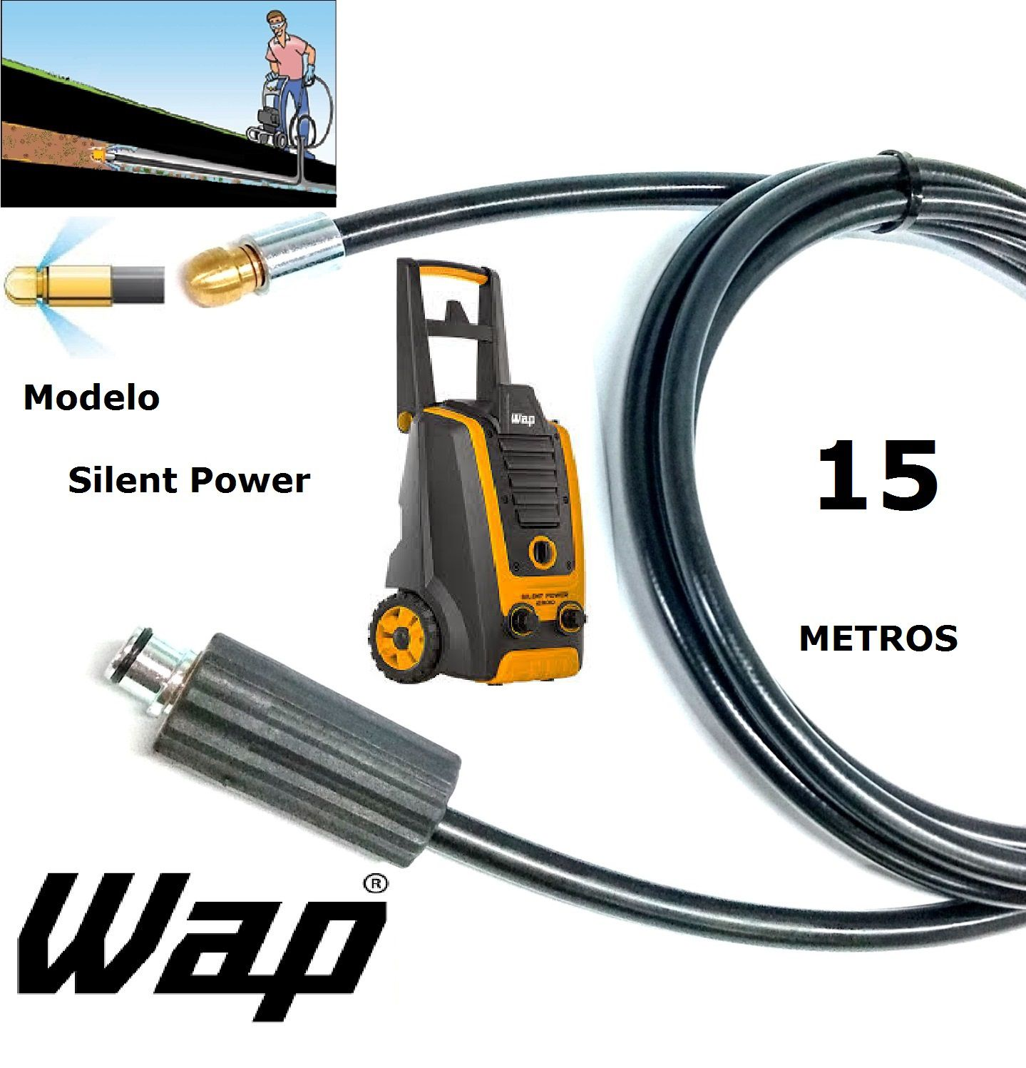 Mangueira desentupidora de tubulação WAP - 15 Metros - Wap SILENT POWER