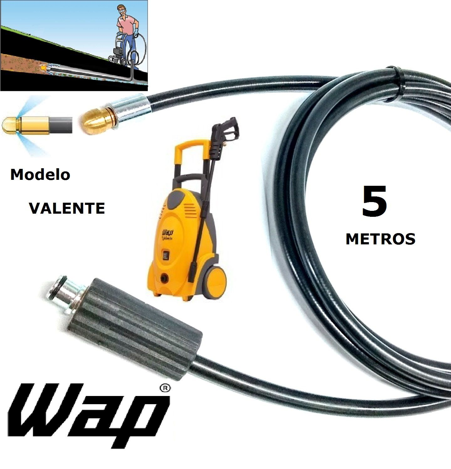 Mangueira desentupidora de tubulação WAP - 5 Metros - Wap VALENTE