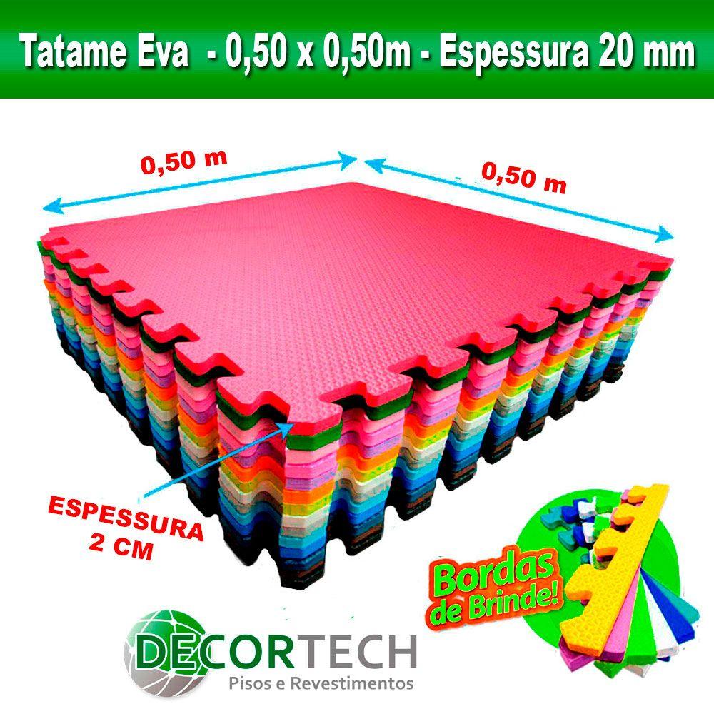 Tatame Eva Infantil Atóxico 0,50 x 0,50m - 20mm - Cores Variadas