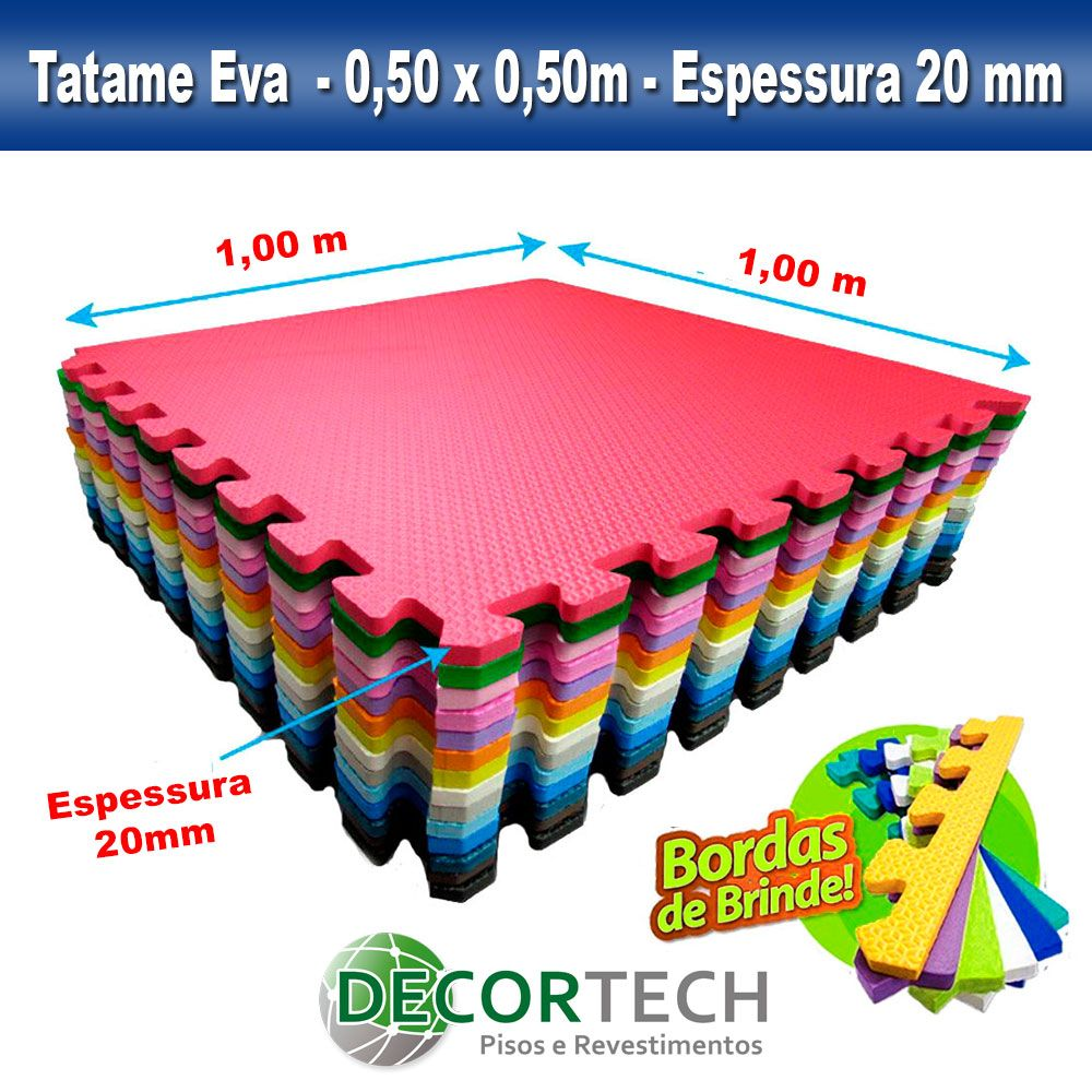 Tatame Eva Infantil Atóxico 1,00 x 1,00m - 20mm - Cores Variadas