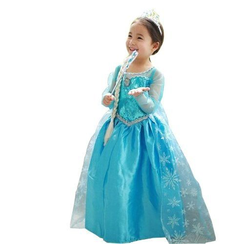 Vestido Elsa Frozen Aniversario Infantil Fantasia Coroa Vara