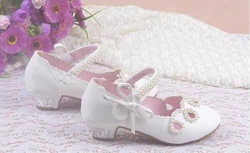 5d5b35cc474 Sapato Infantil Festa Branco Rosa Princesa Daminha Luxo - Lary ...