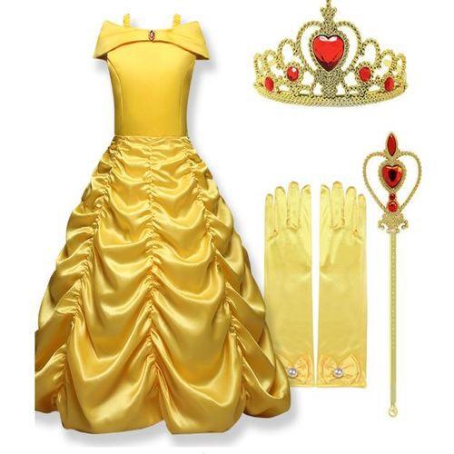 69bab8b150 Vestido Bela Fera Luva e Coroa Amarelo Cosplay Carnaval Menina Infantil