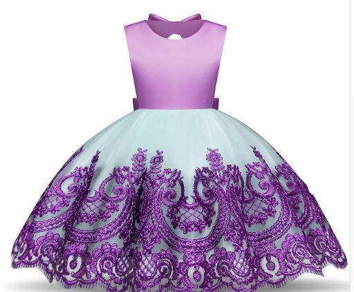 d6764ed74d Vestido Festa Infantil Princesa Menina Bordado Verde Roxo - Lary Dressy  Nacionais e Importados