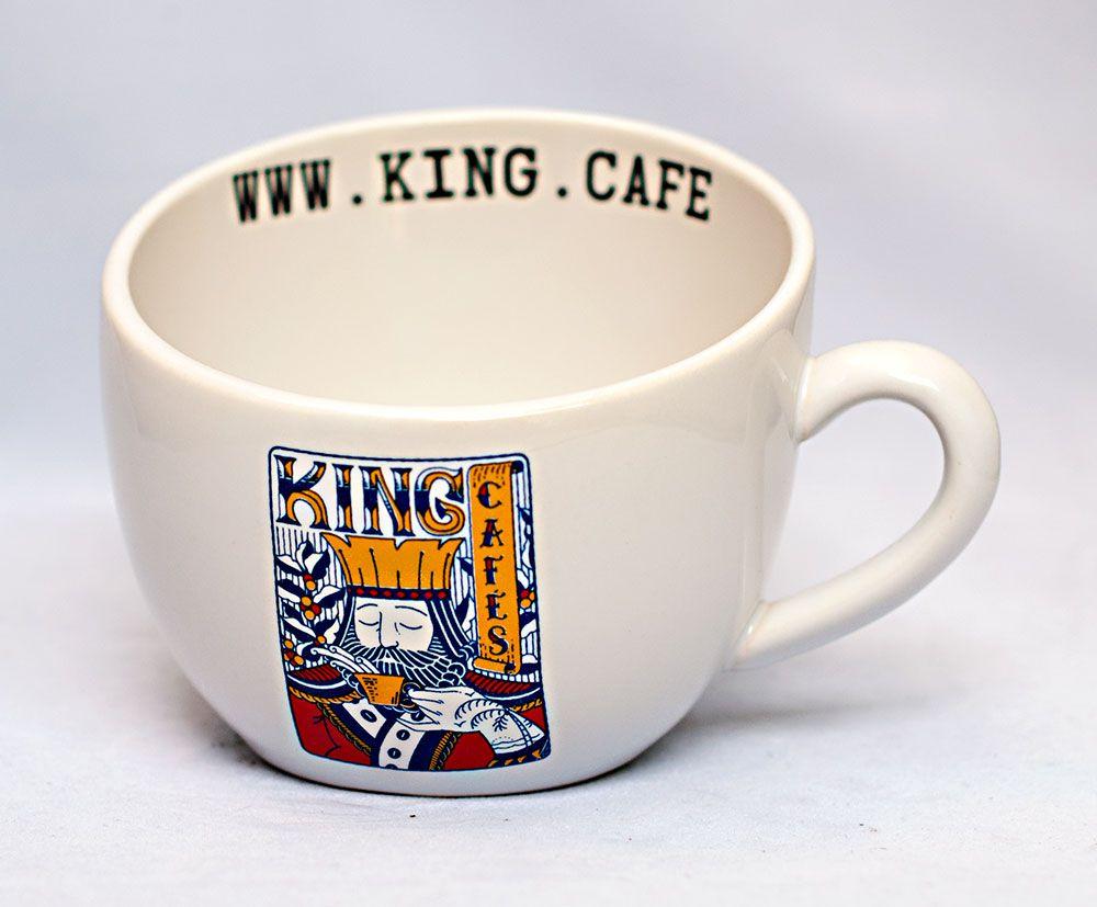 Caneca Média Latte 210 ml (7 oz.) Branca Brilhante com Logo King