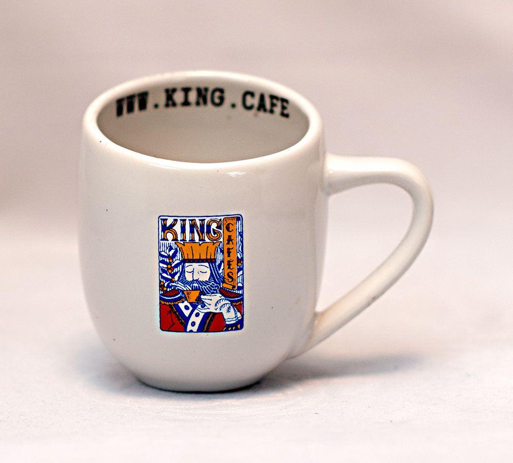 Xícara Espresso 90 ml (3 oz.) Branca Brilhante com Logo King