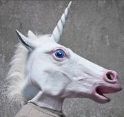 Máscara Unicórnio Cabeça De Cavalo Branco Com Chifre