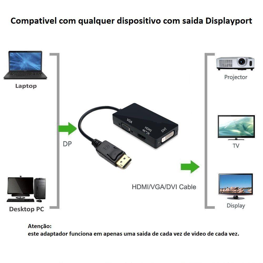 Adaptador DisplayPort para HDMI 4K VGA DVI 3840x2160 30Hz