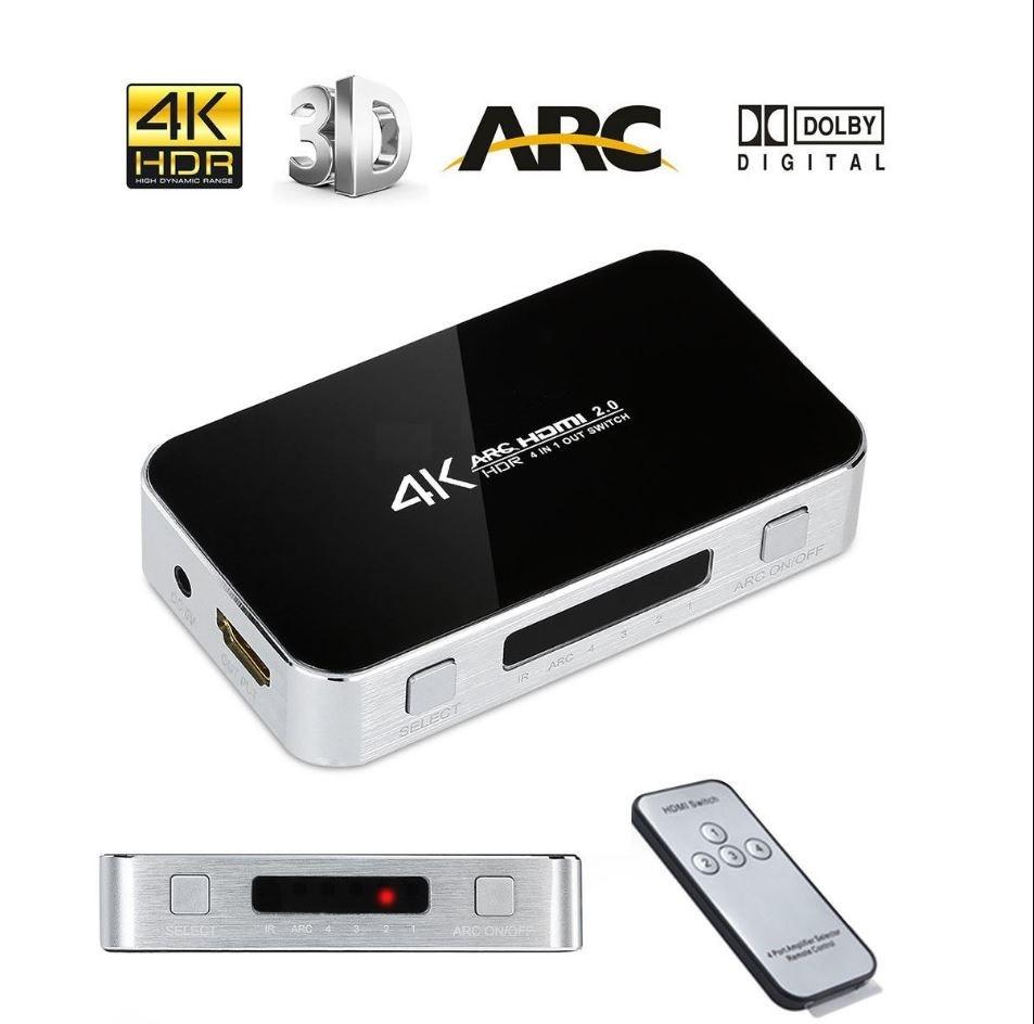 Chave Seletora Hub Switch Hdmi 4 Portas 4k Arc saida Audio