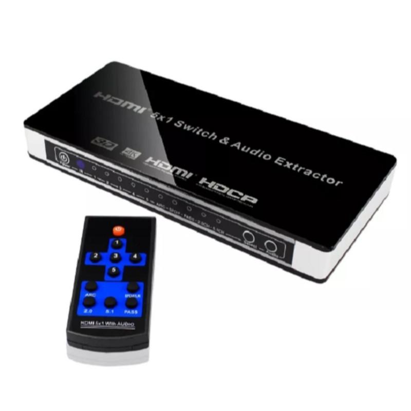 Chave Seletora Hub Switcher Hdmi 5x1 Portas + Extrator Audio