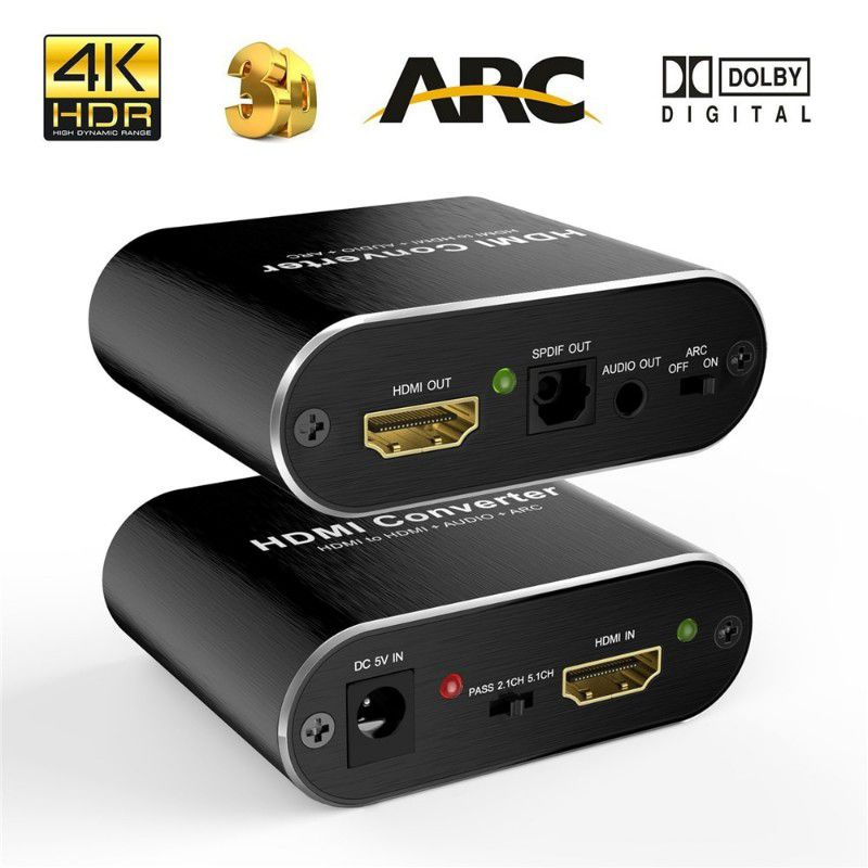 Extrator de audio 5.1 ARC HDMI 2.0 HDR Toslink Spdif Optico