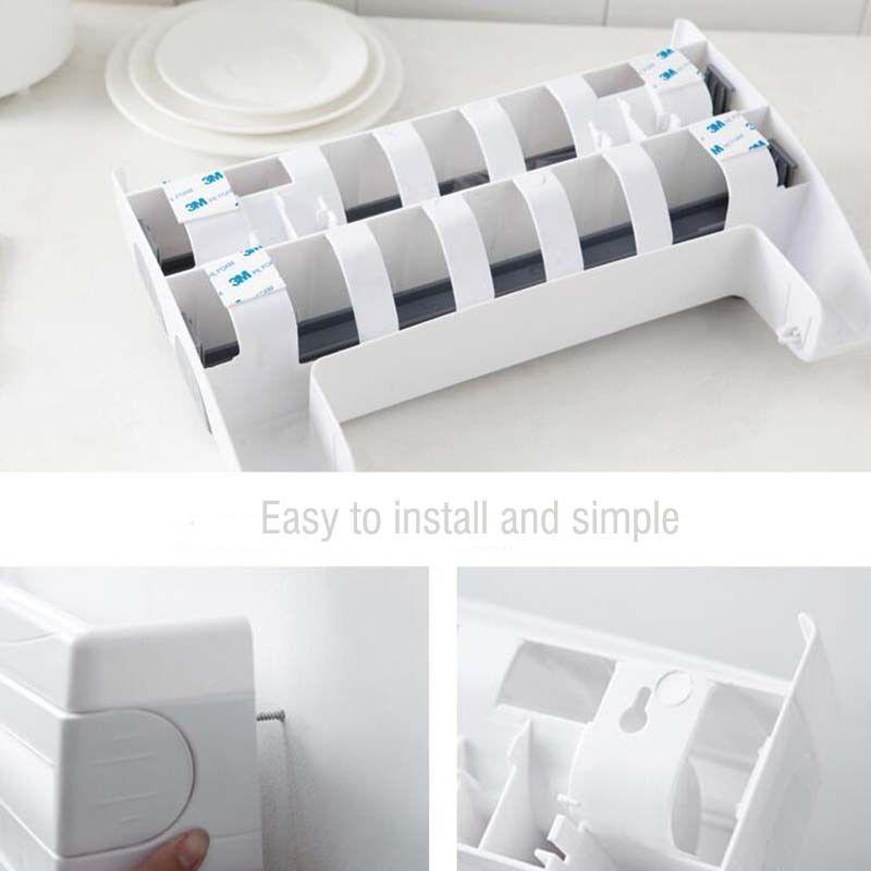 Suporte Porta Rolo Toalha Aluminio Filme Cozinha 3 X 1 Papel cinza