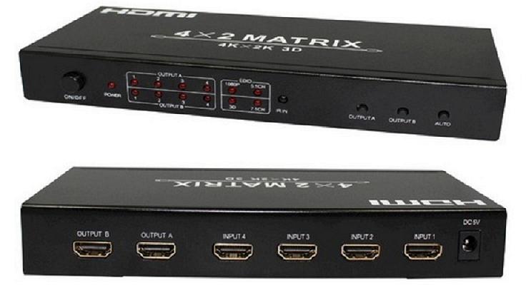 Switch Splitter Hdmi 4x2 Matrix 4 Entradas 2 Saídas Hdmi