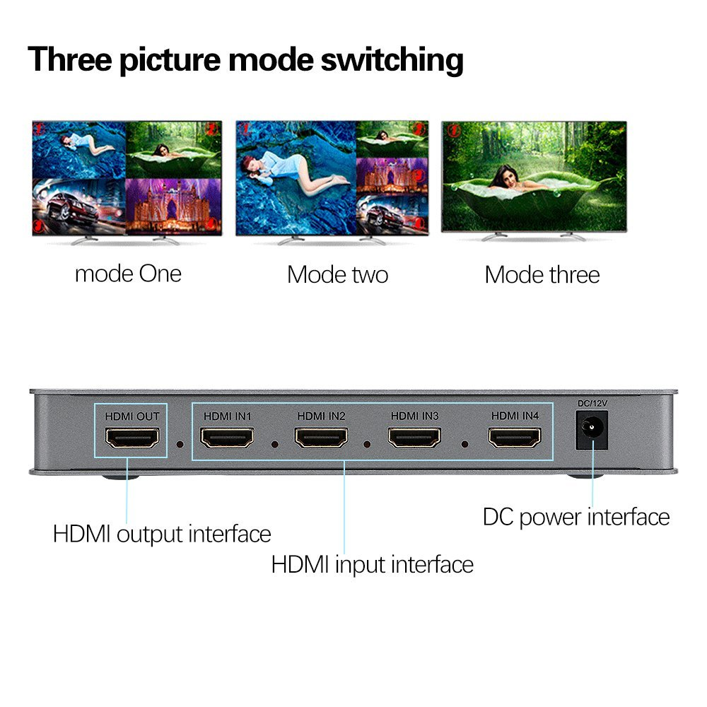 Switcher Hdmi 4x1 Multiview Seletor 4 Telas Mesmo Tempo