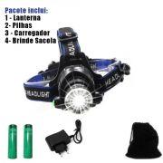 Lanterna Cabeça Multifunções 3 Modos Lâmpada T6 Prova D Agua