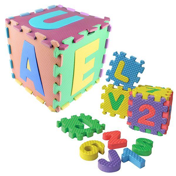 Kit Eva Dado Vogal C 6 Peças Color 29x29cm Brinde Brinquedos