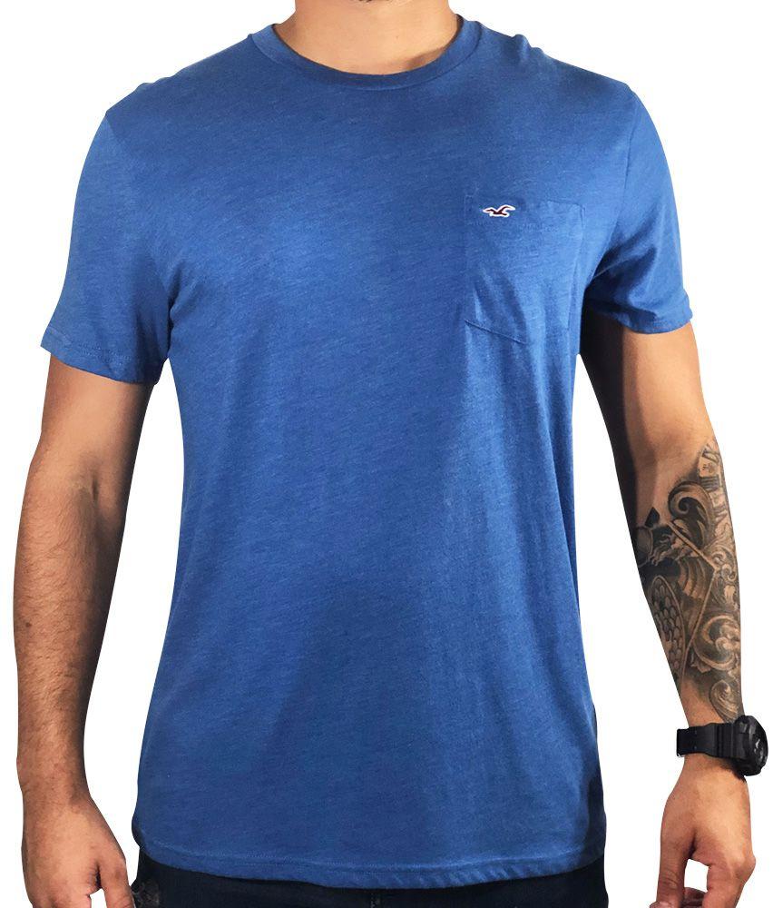 Camiseta Hollister Azul Básica