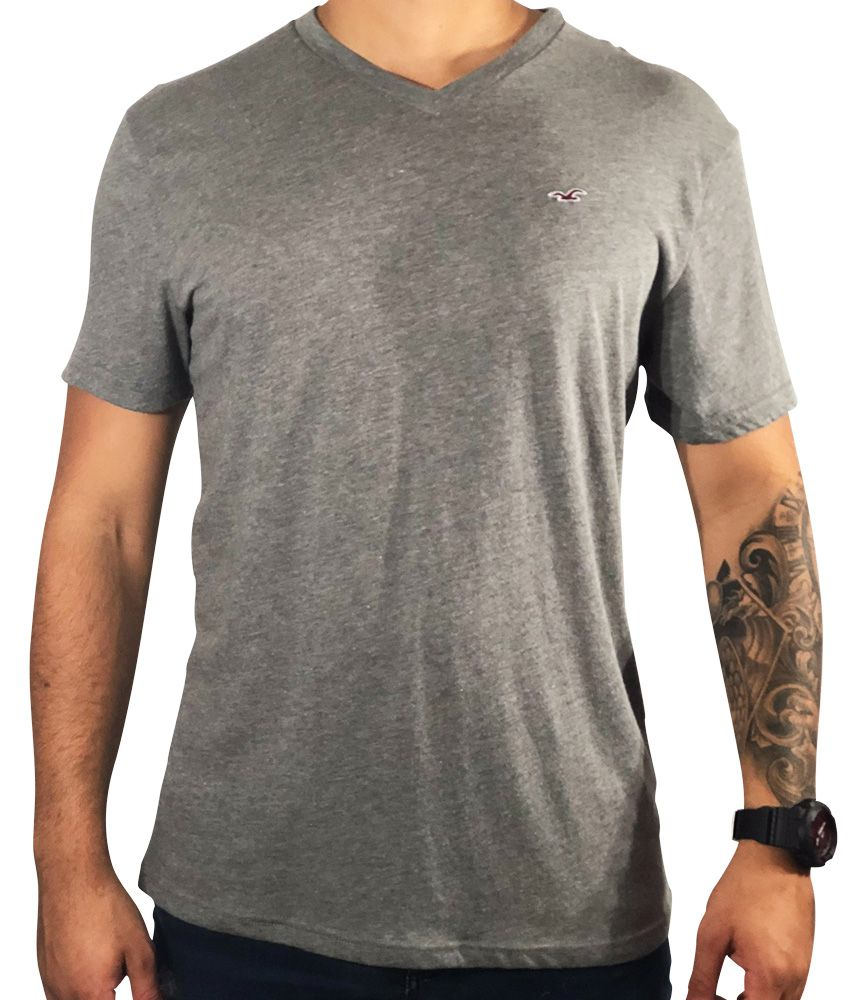 Camiseta Hollister Cinza Básica