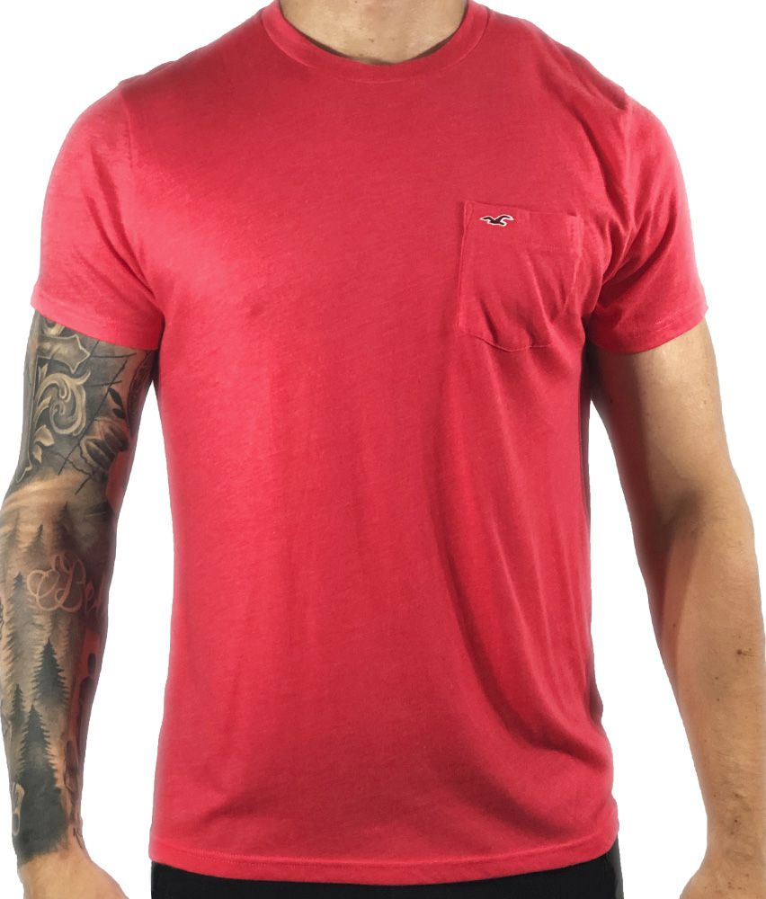 Camiseta Hollister Rosa Básica C/ Bolso