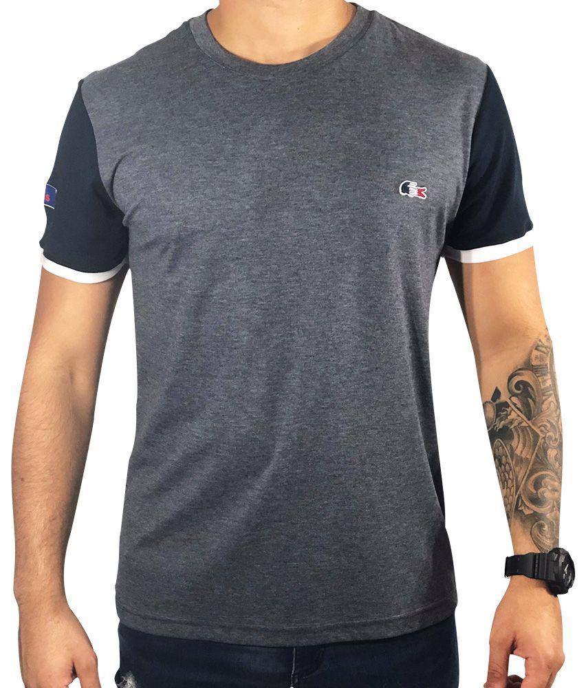 9a762898b6c Camiseta Lacoste Cinza Manga Preta Branca - Pura Vida Store - Moda ...