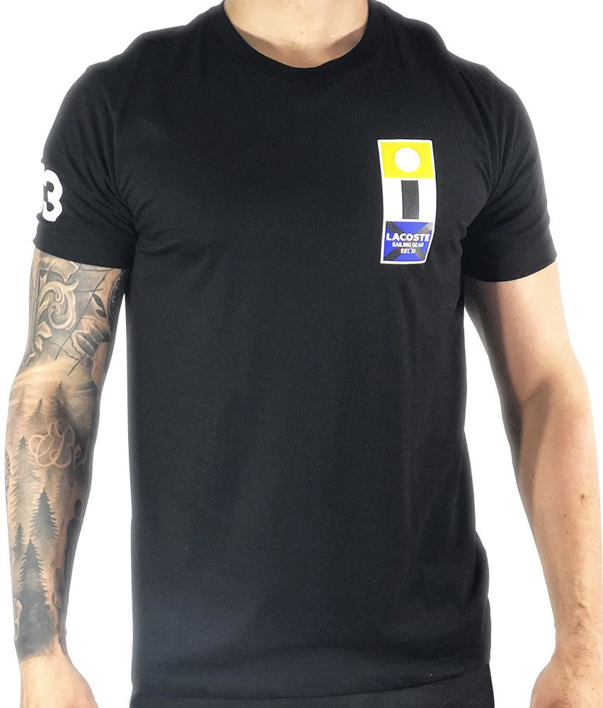 9f3bc91aa00 Camiseta Lacoste Estampada Preta - Pura Vida Store - Moda Masculina ...